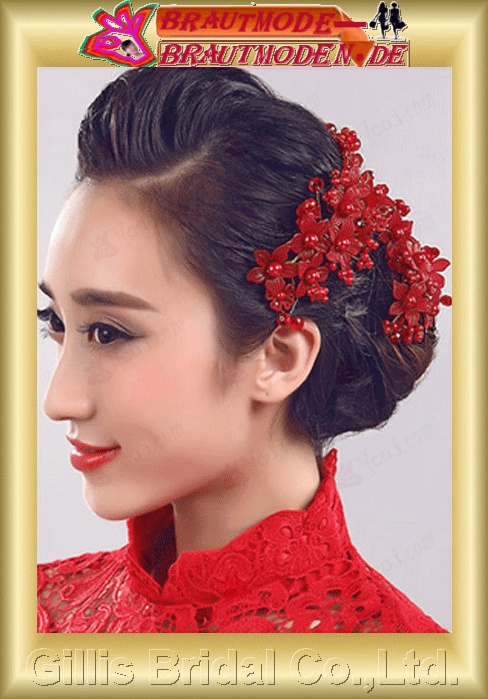 gillis0365 tiara Wedding Jewelry Sets Headdress flower Red