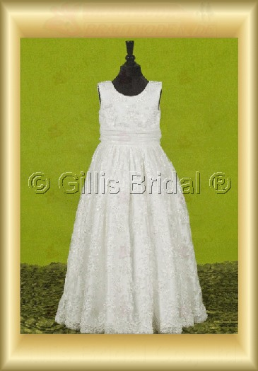 Flower girl Gorgeous floor-length Alencon lace elegant 100069