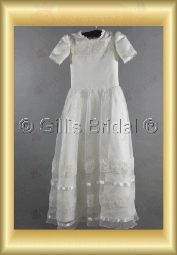 Flower girl sleeve Gorgeous floor-length Alencon lace Short sleeve Exquisite 100602
