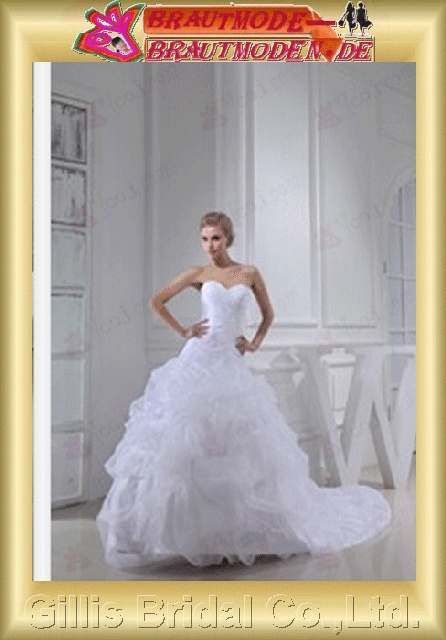 elegant modest A-line bridal gowns A-line wedding dresses Strapless Wedding Dresses Strapless bridal gowns ruffle White gillis800370