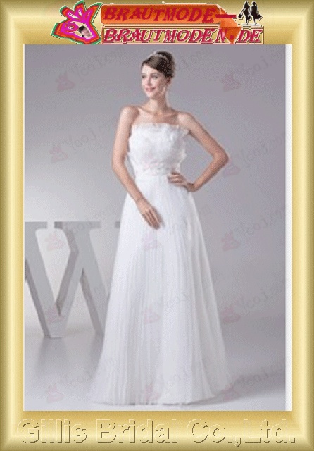 elegant modest elegant A-line bridal gowns A-line wedding dresses Strapless Wedding Dresses Strapless bridal gowns ruffle White gillis800389