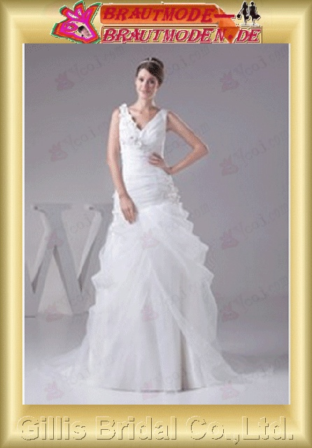 Organza pleated ruffle Fold beads Embroidery beaded Beading embroidery Handcraft flowers Handmade Flower Zip Off-the-shoulder Sweep Brush Mermaid mermaid Exquisite elegant modest elegant A-line bridal gowns A-line wedding dresses White gillis800394