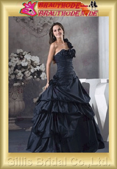 Taffeta pleated ruffle Fold Handcraft flowers Handmade Flower One-shoulder Strapless One-Shoulder Floor-length A-line Simple Exquisite elegant wedding dresses wedding dress dresses ruffle Colors As shown in figure Gorgeous floor-length gillis800397