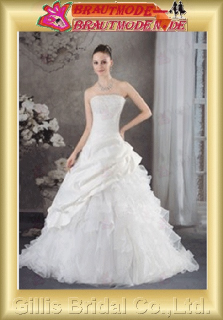 Organza Taffeta pleated ruffle Fold beads Embroidery beaded Beading embroidery Zip strapless Monarch Royal A-line Exquisite elegant modest A-line bridal gowns A-line wedding dresses Strapless Wedding Dresses Strapless bridal gowns 800429