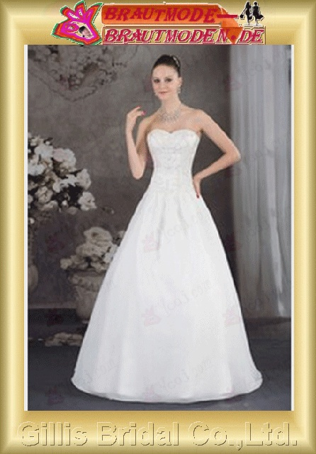 Taffeta pleated ruffle Fold beads Embroidery beaded Beading embroidery Zip strapless Floor-length A-line backless Open back Exquisite modest elegant A-line bridal gowns A-line wedding dresses Strapless Wedding Dresses Strapless bridal gowns 800435