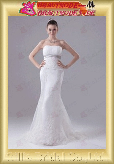 Taffeta pleated ruffle Applique appliqued appliques Zip strapless Monarch Royal Mermaid mermaid Simple Exquisite elegant modest elegant Strapless Wedding Dresses Strapless bridal gowns ruffle Colors As shown in figure White 800480