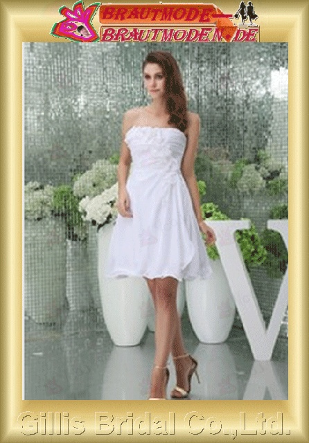 Chiffon pleated ruffle Fold Vertically Draped Handcraft flowers Handmade Flower strapless Knee length Knee-length Simple Exquisite Fashion elegant modest modest elegant wedding dresses dresses evening dresses prom dress Ball Gown Party Dresses 800566