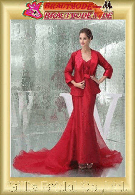 Organza pleated ruffle Fold strapless Monarch Royal Mermaid mermaid Simple Exquisite Fashion elegant modest elegant Gorgeous floor-length gown Red 800579