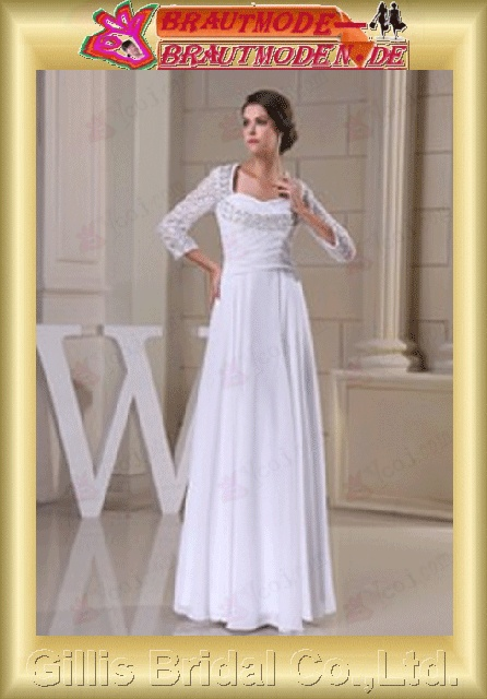 Chiffon pleated ruffle Fold Vertically Draped pleated ruffle Fold Vertically Draped beads Embroidery beaded Beading embroidery Seventh Sleeve Sweep Brush A-line Exquisite Matching elegant modest elegant wedding dresses evening dresses prom gillis800585