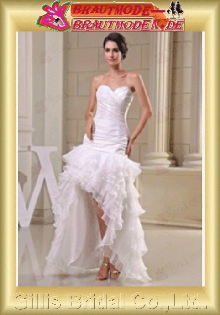 Taffeta Organza pleated ruffle Fold Zip strapless Hi-Lo Simple Exquisite elegant Strapless Wedding Dresses Strapless bridal gowns ruffle White evening Prom Mermaid 800602 Gillis bridal Wholesale - Wedding Dress Sold by Gillis Bridal Co., Ltd. Gillis800602