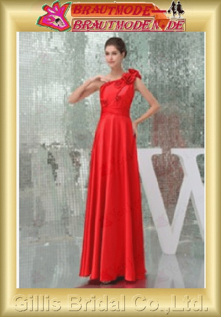Stretch satin pleated ruffle Fold Vertically Draped Handcraft flowers Handmade Flower beads Embroidery beaded Beading embroidery One-shoulder Strapless One-Shoulder Floor-length A-line Prom Simple Exquisite Fashion elegant modest 800604