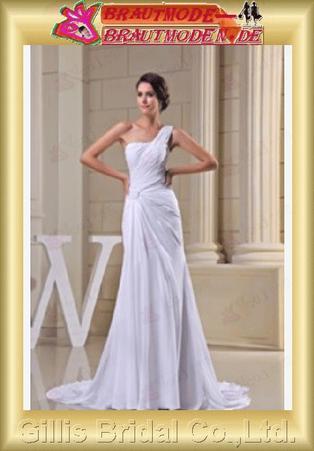 Chiffon pleated ruffle Fold Vertically Draped One-shoulder Strapless One-Shoulder Sweep Brush A-line Simple Exquisite elegant modest elegant A-line bridal gowns A-line wedding dresses ruffle White 800605