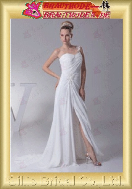 Chiffon pleated ruffle Fold beads Embroidery beaded Beading embroidery One-shoulder Strapless One-Shoulder Monarch Royal A-line backless Open back Exquisite elegant A-line bridal gowns A-line wedding dresses White 801004
