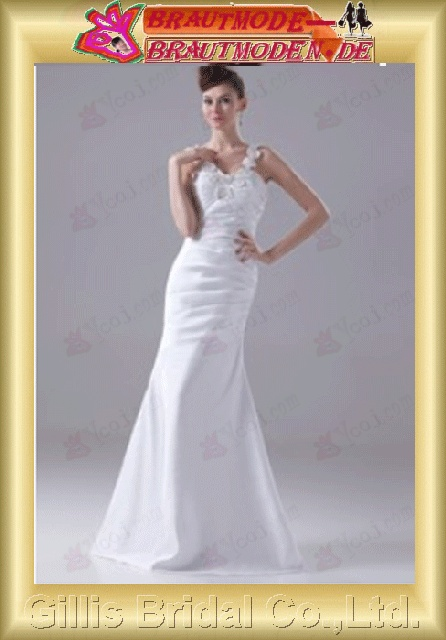 Taffeta pleated ruffle Fold Applique appliqued appliques Halter Off-the-shoulder Sweep Brush Mermaid mermaid backless Open back Simple Exquisite prom dresses White 801006 Gillis bridal Wholesale - Wedding Dress Sold by Gillis Bridal Co., Ltd. Gillis801006