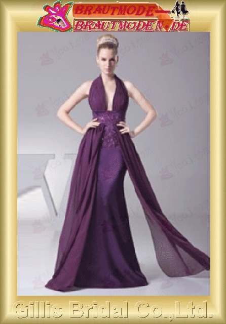 Stretch satin Vertically Draped Flouncing floating tablets beads Embroidery beaded Beading embroidery Off-the-shoulder Halter Sweep Brush A-line backless Open back Simple Exquisite dresses Grape 801007