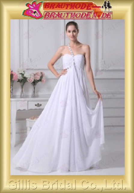 Chiffon pleated ruffle Fold Flouncing floating tablets beads Embroidery beaded Beading embroidery One-shoulder Strapless One-Shoulder Long dress Floor-length A-line backless Open back Simple Exquisite Fashion elegant modest elegant dresses 801061