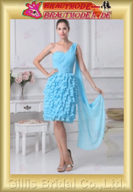 Chiffon pleated ruffle Fold Flouncing floating tablets Zip One-shoulder Strapless One-Shoulder Short dress A-line backless Open back Simple Exquisite elegant dresses prom dresses Party Dresses Light Sky Blue 801064