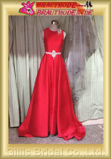 Stretch satin beads Embroidery beaded Beading embroidery Off-the-shoulder Monarch Royal A-line Exquisite Fashion Color Accented dresses color accented A-line bridal gowns A-line wedding dresses Red 801130